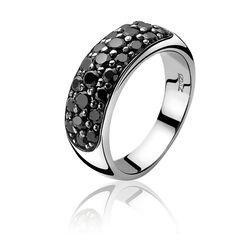 Zinzi Ring Zwart Zirconia Zir334z