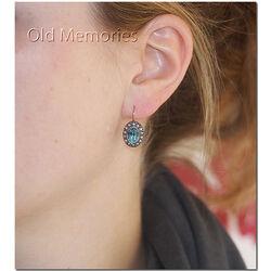 Verguld zilveren oorbellen blauw strass en parels