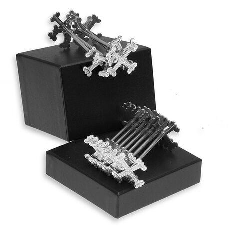 Set van 11 zilveren messenleggers met gravering