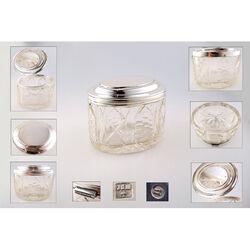 Antieke kristallen Theedoos zilveren montuur