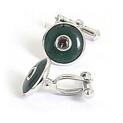 Groene manchetknopen zilver