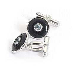 zilveren manchetknopen onyx topaas