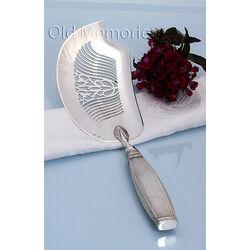 Zilveren visdienschep rib 33 cm