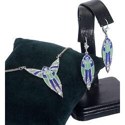 Zilveren oorbellen groen en blauw emaille