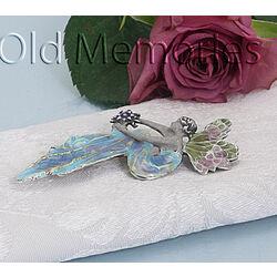 Zilveren broche of hanger vrouw met vleugels met emaille GL