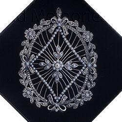 Zilveren broche hanger pareltjes