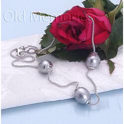 Zilveren collier parels 42 cm