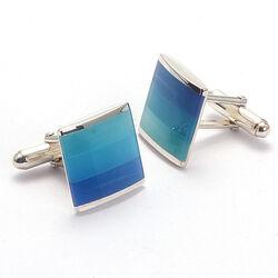 Carrs zilveren manchetknopen blauw parelmoer