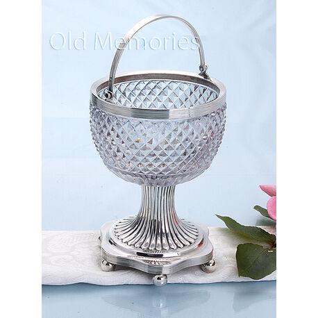 Kristallen suikervaas met zilver empire
