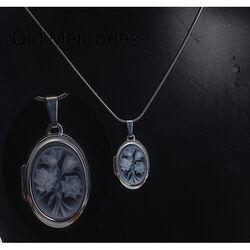 zilver medaillon voor fotos bloempatroon