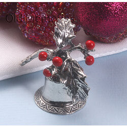 Zilveren belletje met hulst kerst