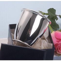 Zilveren geboortebeker cupje parelrand