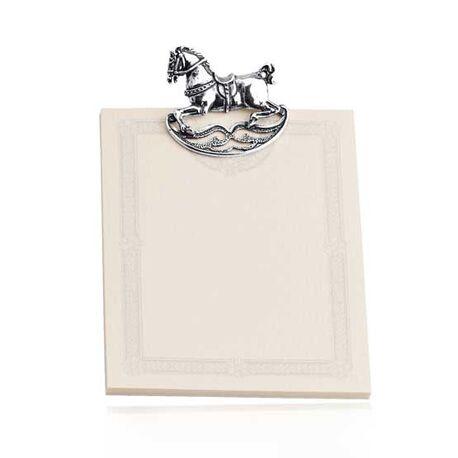Zilveren notitieblok houder met hobbelpaard