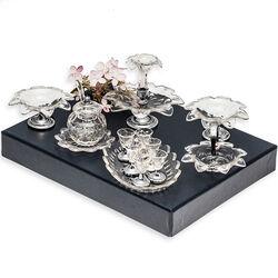 Miniatuur dessertgarnituur kristal met zilver