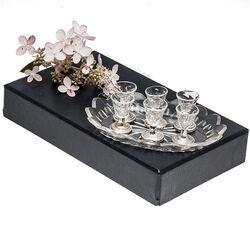 Kristal met zilver miniatuur dessertgarnituur