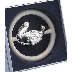 Rammelaar eend in ring zilver