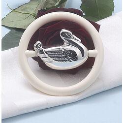 Zilveren rammelaar bijtring eend
