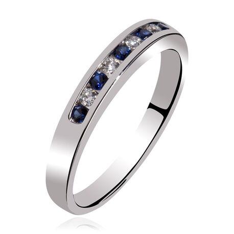 Gouden ring briljant saffier witgoud