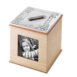 Zilveren spaarpot en fotolijstje Clowns Carrs mbox3/map