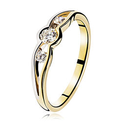 Gouden ring bicolor 3 briljanten