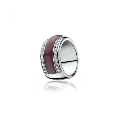 Brede zilveren ring met grote paarse zirkonia zir616 Zinzi