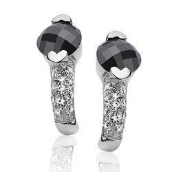 Zinzi zilveren oorbellen zwart zirconia
