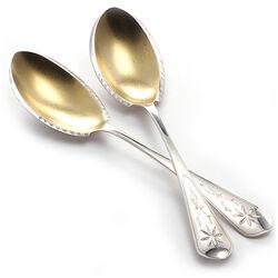 Zilveren compotescheppen vergulde bak