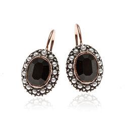 zilveren oorbellen zwart strass en pareltjes