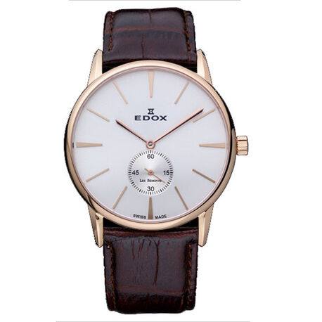 Edox Les Bemonts donkerbruin leren horloge