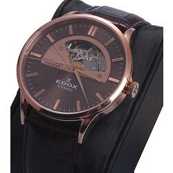 Edox bruin leren horloge Les Vauberts