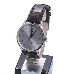Bruin leren Edox Vauberts Big Date horloge
