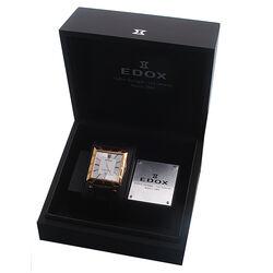 Donkerbruin leren horloge met vierkante kast Edox