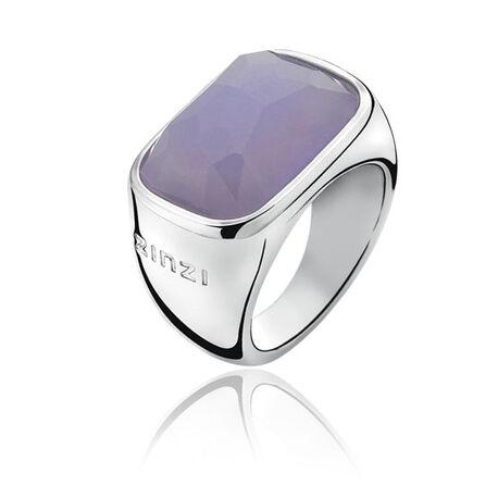 Brede zilveren ring met paarse steen zinzi zir676