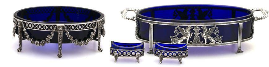 Zilver met blauw glas