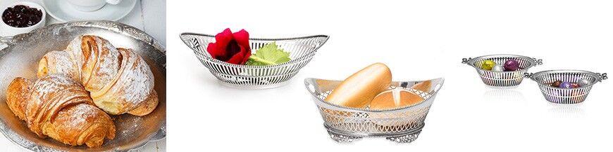 Zilveren brood en bonbonmanden