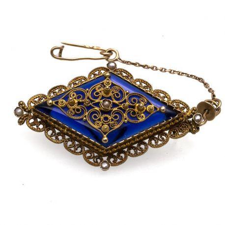 Antieke gouden broche met filigrain Kennisbank Zilver.nl