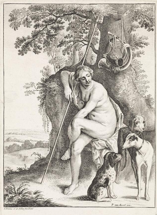 Godin Diana van de jacht met haar jachthonden Kennisbank Zilver.nl