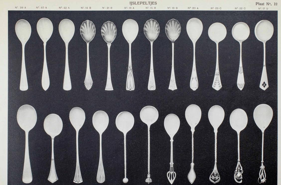 Veel keus aan zilveren ijslepeltjes bij j.a.a Gerritsen rond 1910 Zilver.nl