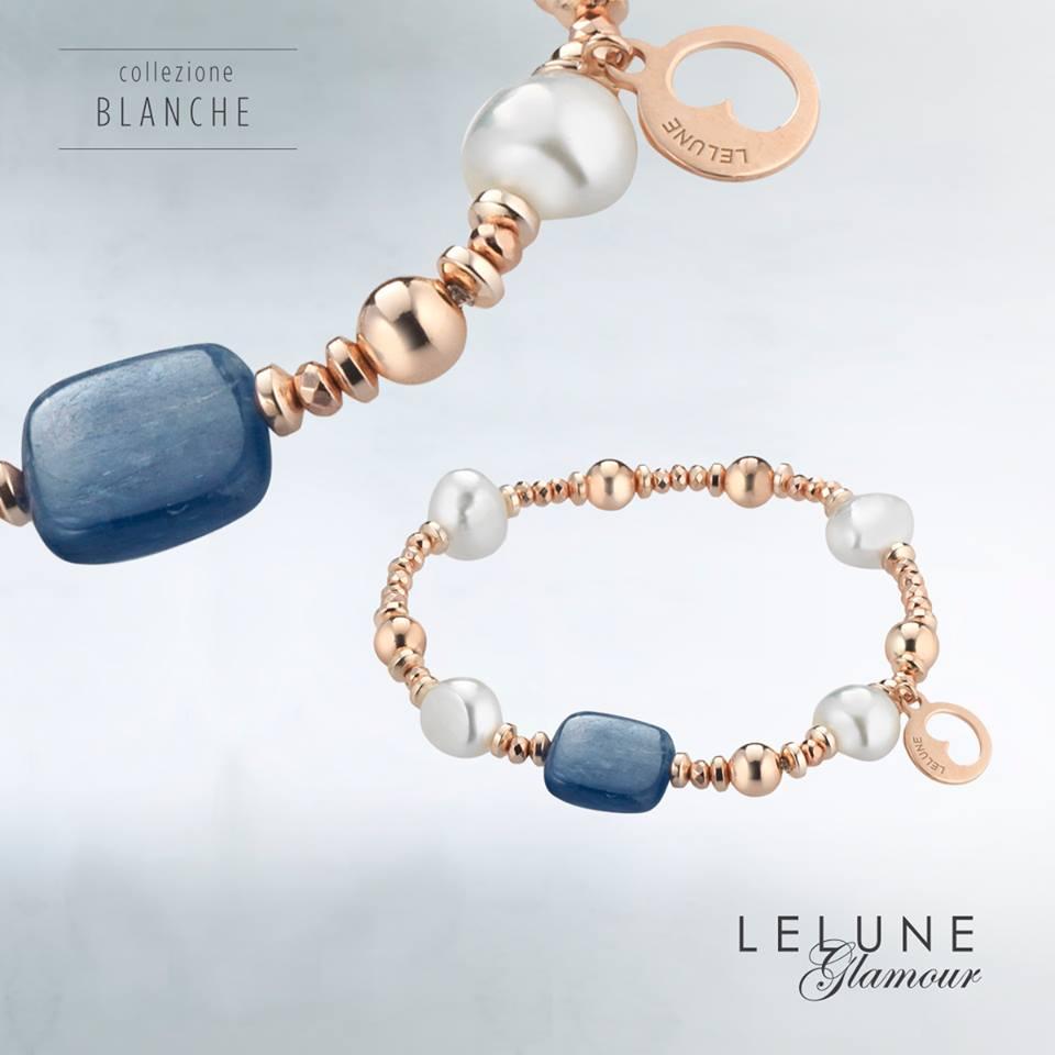 Lange oorbellen parel kyaniet roséverguld Lelune