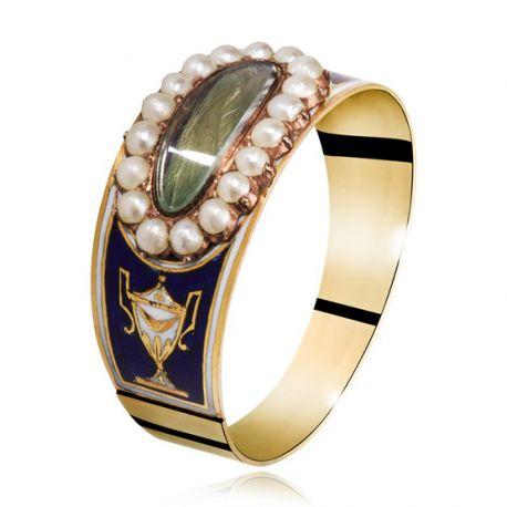 Gouden Empire ring met haarwerk Kennisbank Zilver.nl