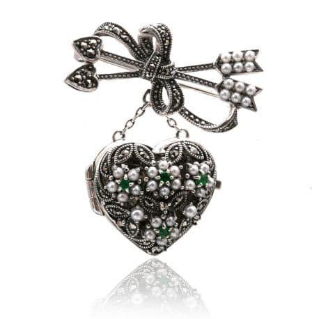 broche met aanhangsel zilver bij Zilver.nl antiquair juwelier
