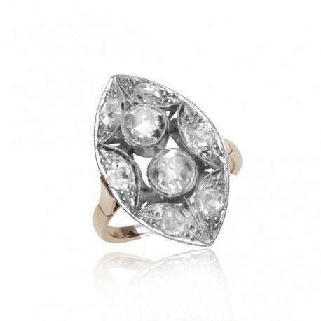 Gouden ring met grote roosdiamanten Kennisbank Zilver.nl