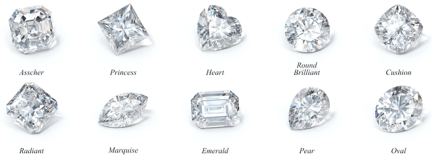 diamanten geslepen in verschillende slijpvormen bij juwelier Zilver.nl