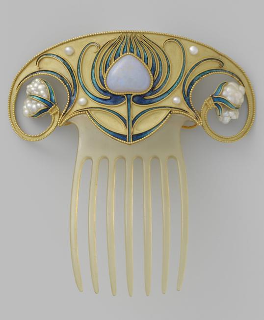 Art Nouveau haarspeld bezet met opaal en parels Kennisbank Zilver.nl