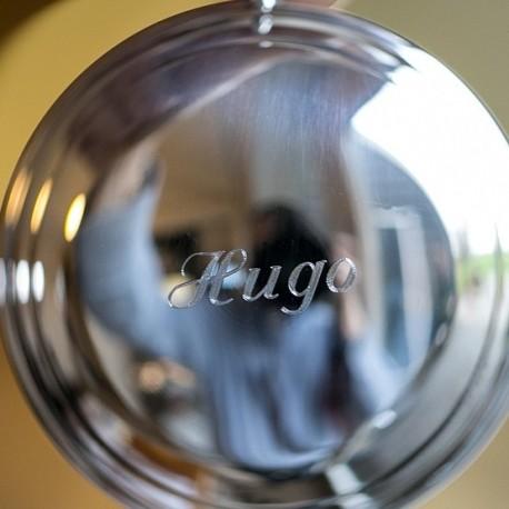 Voorbeeld gravering op een zilveren kurk