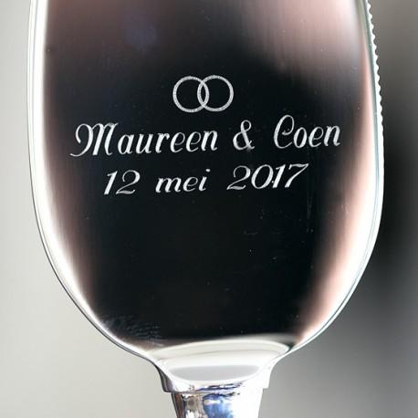 Taartmes zilver heft graveren door Zilver.nl