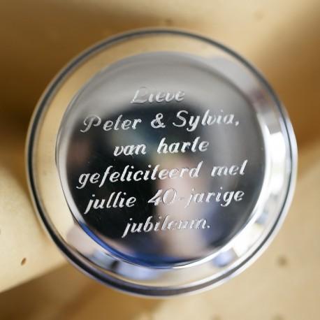 Zilveren kurk voorbeeld gravering met tekst